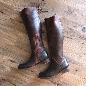 Bed Stu Boots Riding Tall Brown Manchester Zip 7.5